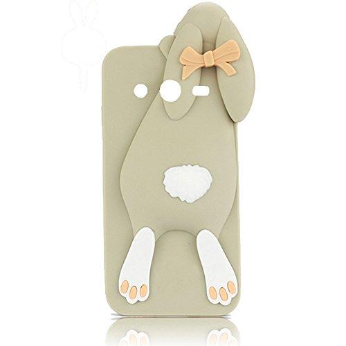 Samsung Galaxy Core 2 G355H/Core 2 Duos TPU Accesorios Sunroyal® Funda Carcasa Case Cover Caso de la Manera Linda de Silicona Divertido Dulce Buck Dientes del Rabbit Conejo de Conejito Suave teléfono  Color3