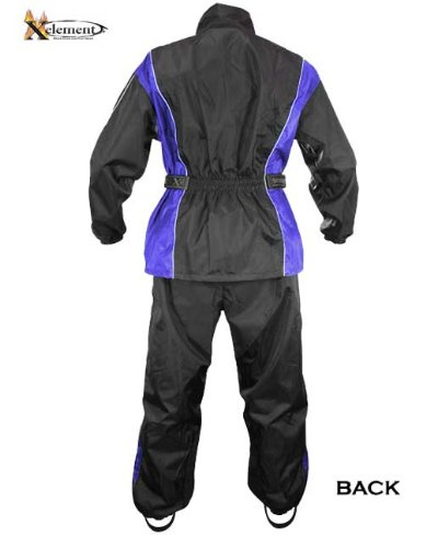 Xelement RN4768 Mens Black/Blue 2-Piece Motorcycle Rain Suit with Boot Strap - Large