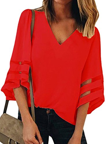 ROSKIKI Womens Summer 3/4 Bell Sleeve V Neck Sheer Patchwork Chiffon Blouse Casual Shirt Tops Red L