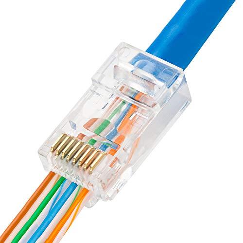 - RJ45 Pass Through Connectors CAT6 Pass Through Connectors Ends 100pcs Ethernet Gold Plated Network End Plug Cable Connectors