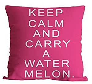 "CCTUSGSH ""Keep Calm And Carry A Water Melon"" Funny Quotes Cotton Throw Pillow Case Cushion Cover 16 X 16 Inches One Side"