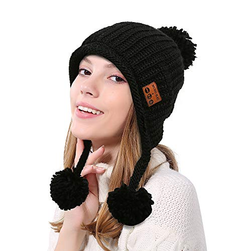 - Kim88 Unisex Hat Cap Warm Soft Cute Wireless Bluetooth Hat Cap Headset Headphone Speaker Beanie Hat Caps (Black)