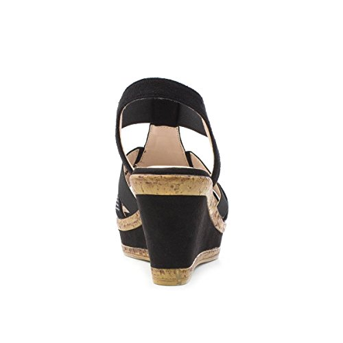 Cushion Black Wedge Black High Womens Walk Sandal AEwxZqArgI