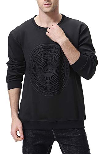 Jersey Repujado Nimpansa Casual Hombre Sweatershirt De Sólido Negro Larga Para Manga Tops dApqA7