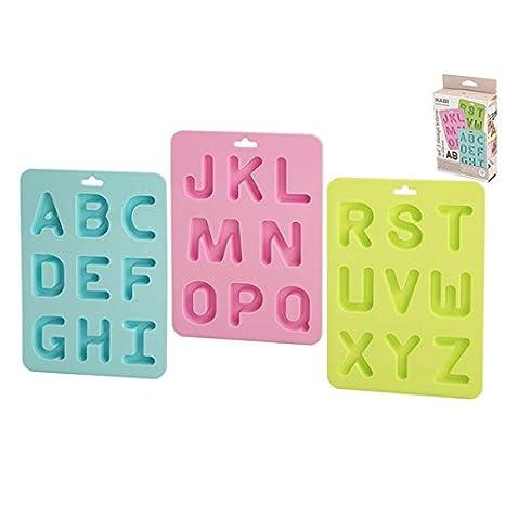 Habi F836 - 3 Moldes de Letras de repostería, Silicona, Multicolor: Amazon.es: Hogar
