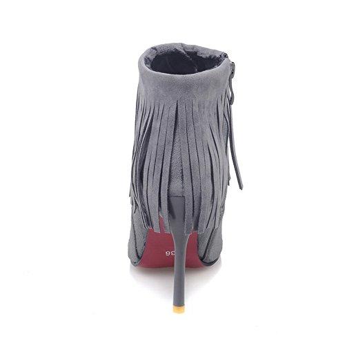 BalaMasa Girls Stiletto Winkle Pinker Tassels Frosted Boots Gray FqGkKhM