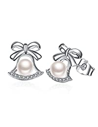 "Pearl Earrings, Valentine's Day Gift 925 Sterling Silver Earrings J.Rosée Jewelry ""Jingle Bell"" with Exquisite Package for Women"
