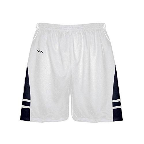 LightningWear Men's Athletic Shorts - Basketball Shorts - Lacrosse Shorts - Soccer Shorts - White Navy Blue (Mens Lacrosse Shorts)