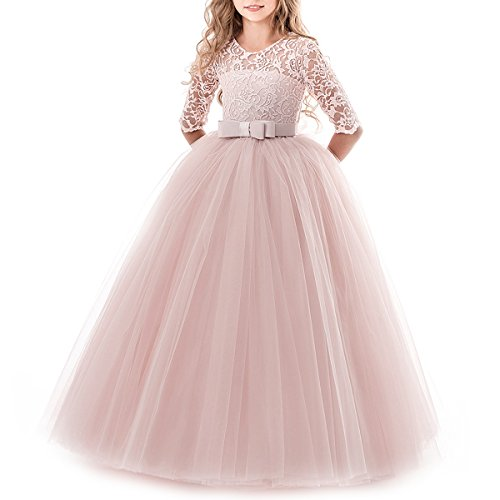 Flower Girls Lace Half Sleeve Tulle Dress Wedding Bridesmaid Communion Evening Party Bowknot Puffy Pink Dress 7-8 Years (Dresses For Children To Wear To A Wedding)
