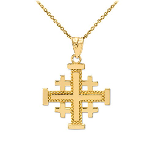 Polished 14k Yellow Gold Crusaders Jerusalem Cross Pendant Necklace, 22