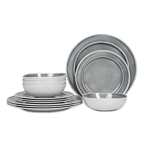 Melamine Dinnerware Set - 12pcs Dishes Dinnerware Set for 4, Indoor and Outdoor use, Dishwasher Safe, Break-resistant, Lightweight, Gray (Dish Sets Gray)