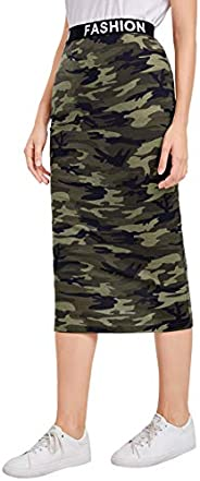 Milumia Women's High Waisted Pencil Camo Skirts Casual Letter Tape Waist Midi Sk