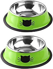 Unknows 2Pcs Stainless Steel Cat Food Dish Bowls Shallow Cat Neater Feeder Extra Replacement Metal Foods Water