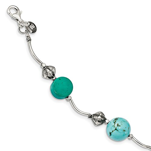 (925 Sterling Silver Hematite/recon. Blue Turquoise Magnesite 1 Inch Extension Bracelet 7.5 Gemstone Fine Jewelry Gifts For Women For Her)
