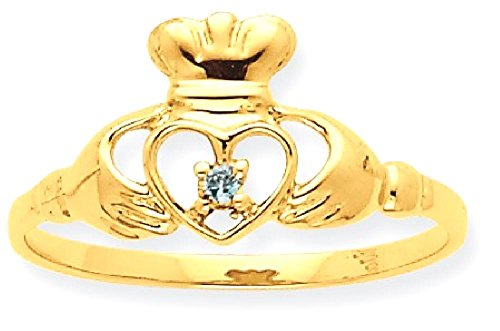 ICE CARATS 10k Yellow Gold Blue Topaz Birthstone Band Ring Size 7.00 Stone December Claddagh Style Fine Jewelry Gift Set For Women Heart