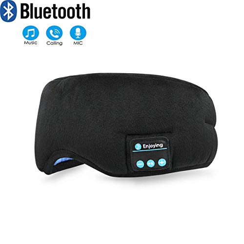 Bluetooth Sleeping Eye Mask, NEIMAER Sleep Headphones Wireless Travel Music Eye Shades Headset|Built-in Speaker Microphone Handsfree Washable - Black]()