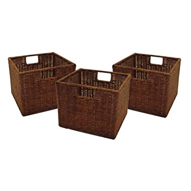 Winsome Wood Small Wired Rattan Baskets, Set of 3
