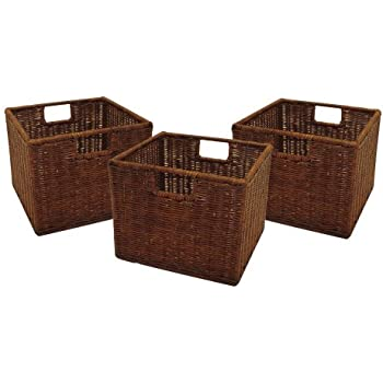 Gentil Winsome Wood Small Wired Rattan Baskets, Set Of 3