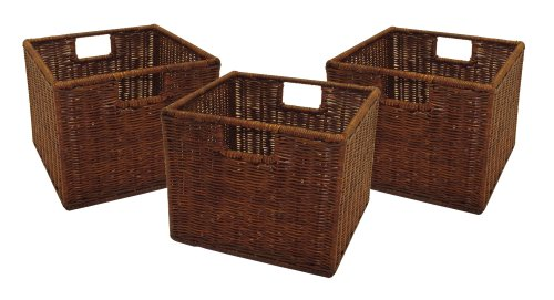 Winsome Wood Small Wired Rattan Baskets, Set of 3 Storage Baskets For Shelves