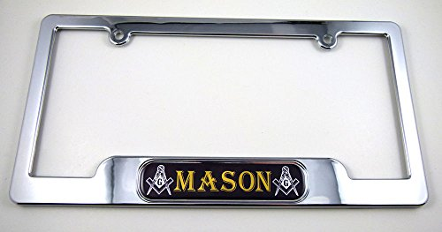 (Car Chrome Decals LPFC-MASON Mason, Masonic License Plate Frame Dome Emblem Freemasons plastic chrome plated)