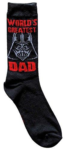 Star Wars Darth Vader World's Greatest Dad Men's Crew Socks Size 6-12 Black