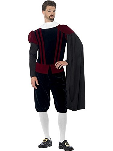 Smiffys Men's Tudor Lord Deluxe Costume, Top, pants, Cape and Neck Ruffle, Tales of England, Serious Fun, Size L, 43418 ()