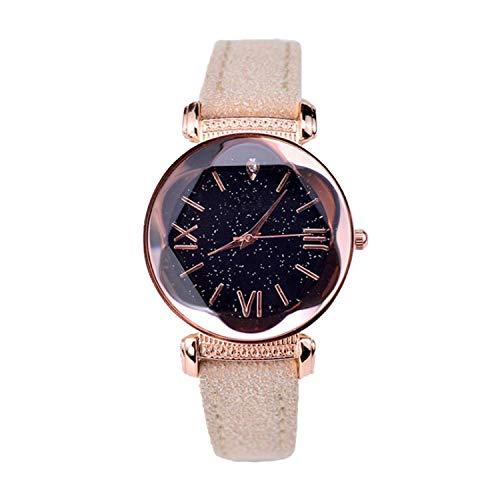 FANRENYOU Rose Gold Leather Watches Women Ladies Casual Dress Quartz Wristwatch Khaki