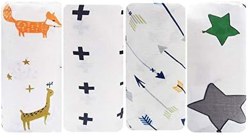 Swaddle Blanket Unisex Swaddle Wrap Soft Silky Muslin Swaddle Blankets Neutral Receiving Blanket for Boys & Girls, Toddler Gift, Wearable Swaddling Set of 4 -Animal/Plus/Arrow/Kite Star