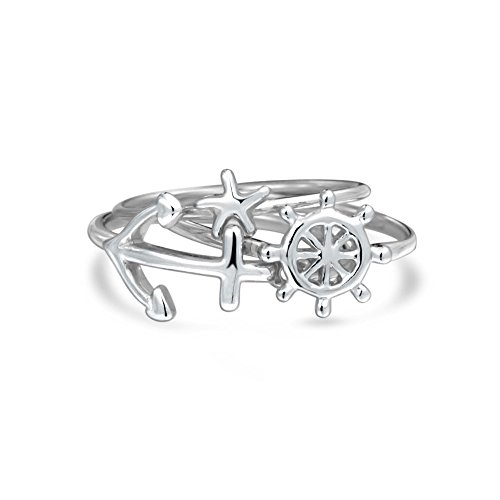 Nautical Starfish Anchor Ship Wheel Stackable Sterling Silver Midi Ring Set (Silver Stackable Bling Ring)