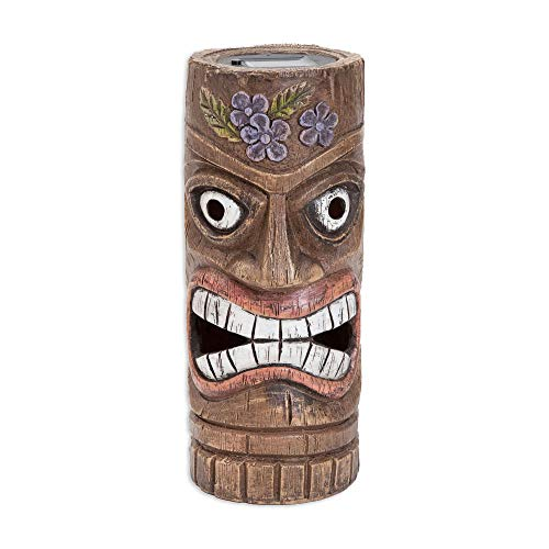 Bits and Pieces - 12 Inch Tall Solar Tiki Statue - Whimsical Light-Up Lawn and Garden -