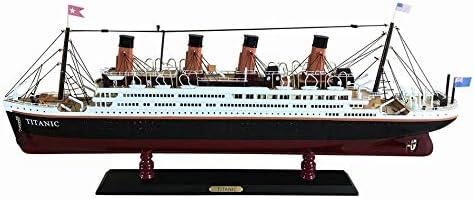 "Hampton Nautical RMS Titanic 32"" Wood Replica Hampton Nautical Model Ship, Fully Assembled (Not a Kit) , White"