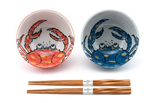 Fuji Merchandise Japanese Porcelain Multi Purpose Bowl with Chopsticks Set of 2 Kani Crab Design Gift Set Made In Japan