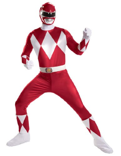 Disguise Sabans Mighty Morphin Power Rangers Red Ranger Super Deluxe Mens Adult Costume, Red/White, X-Large/42-46 (Covers Boot Ranger Red)