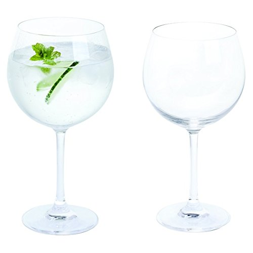 Bar Amigos Everyday Classic Essentials Copa Gin and Tonic Glasses | G&T Cup Large stemmed Balloon Glass | Lead Free Crystal | Dishwasher safe | 650ml - Pack of 2 (Pair)