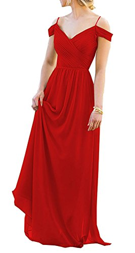 Bridesmaid Evening Dress Long Prom Dresses Formal Spaghetti Chiffon Gowns Cdress Off Red Shoulder gfwB5F