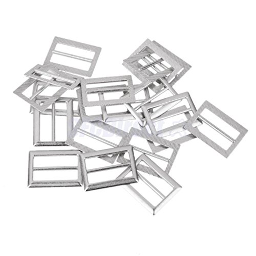 10x Metal Sliding Bar Tri-glides Roller Pin Buckles Slider Strap Wire Sew Craft Silver 25mm by sfcdirect