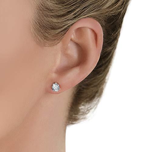 Isabella Silver LONDON Designer Jewellery 925 Sterling Silver 5mm CZ Martini-Style Bezel-Set Stud Earrings
