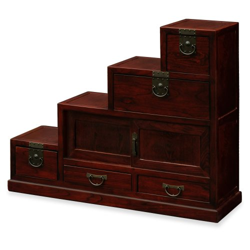 Hand Crafted Japanese Style Elmwood Petite Step Tansu Chest - Dark Cherry (Cabinet Step Tansu)