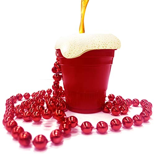 Kicko Red Shot Glass with Bead Necklace - Reusable Plastic Cups for Party Drinks and Games, Serving Condiments, 5 Pack