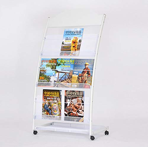 TINE A4 Magazine Display Stand File Magazine Holder with 4 Wheels White Portable 3 Shelf Brochure Exhibition Leaflet Mobile Book Shelf Newspapers Holder on The Floor