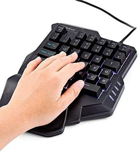 Color : Black HUOGUOYIN Gaming Keyboard G301.6 m Wired Gaming Keyboard 35 Keys with LED backlighting Membrane Keyboard for one-Handed Keyboard