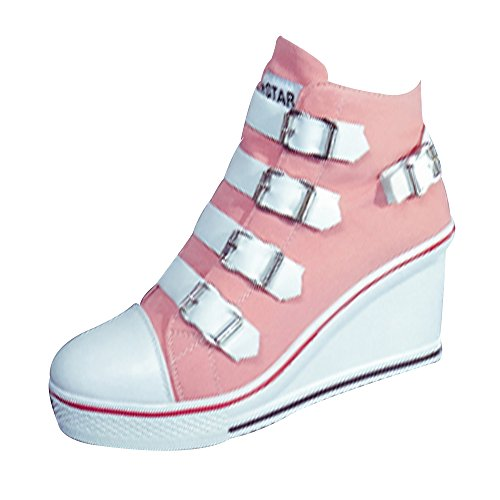Scarpe Da Donna Scarpe Cinture Sneaker Con Zeppa Tacco Alto In Pelle Color Oro Cuneo Delle Donne