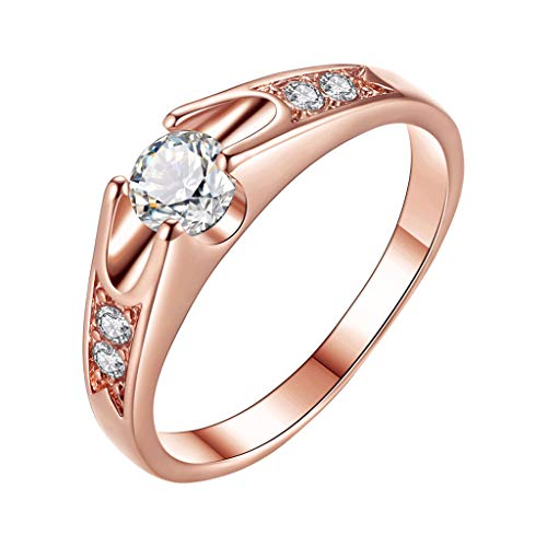 XBKPLO Rings for Women's Popular Round Zircon Micro-Inlaid Lover Wedding Ring Plated Rose Gold Wedding Jewelry Gift Size 5-11 (11)