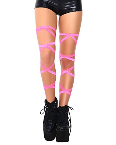 Rave Outfits (iHeartRaves Pair of Non-Slip Rave Leg Wraps (Neon Pink))