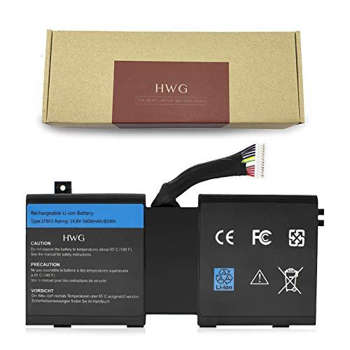 HWG 2F8K3 Battery Compatible Dell Alienware 17 18 18x M17X R5 M18X R3 Series Laptop, Fits P/N 2F8K3 02F8K3 KJ2PX 0KJ2PX G33TT 0G33TT (14.8V 83WH)