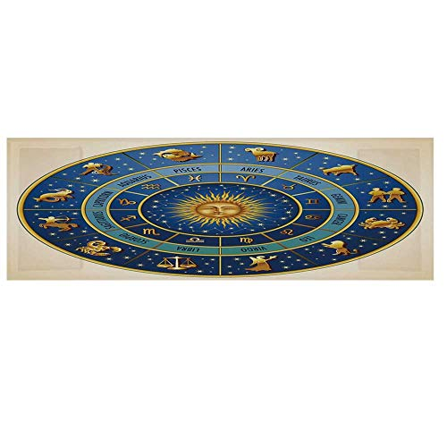 Astrology Cotton & Linen Microwave Oven Protective Cover,Wheel of Astrological Signs Names and Dates with Moon Sun in Middle Decorative Cover for Kitchen,36