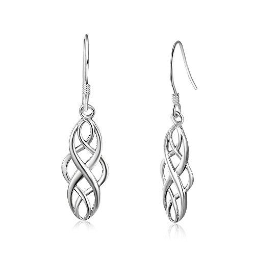 Kalapure S925 Sterling Silver Oxidized Infinity Endless Love Celtic Knot Linear Drop Earrings (Infinity Knot Earrings)