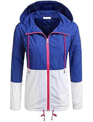 Teewanna Women's Waterproof Raincoat Outdoor Hooded Rain Jacket Windbreaker (21 Colors S-XXL)