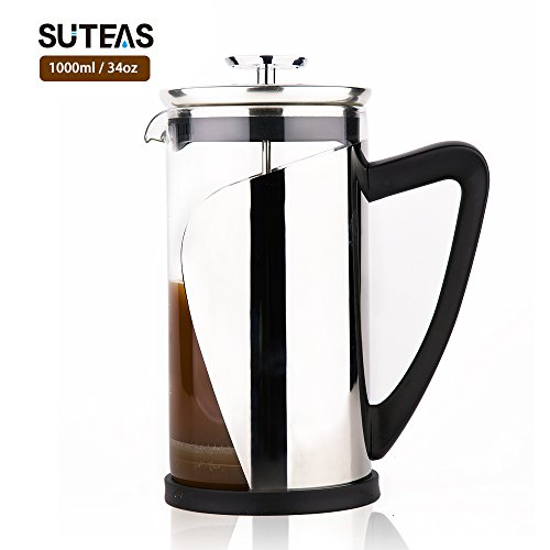 French Press Coffee Maker with Superior Filtration System 34oz 1 liter – Heat-Resistant Borosilicate Glass & SUS304 Grade Stainless Steel – One Free Bobus Stainless Steel Filter Mesh in the Package