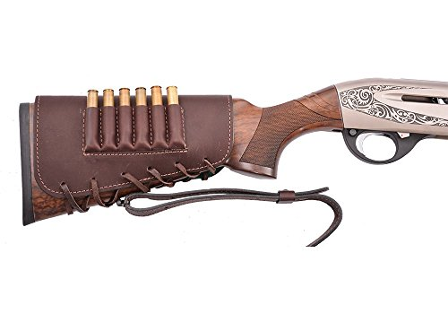 Buttstock shell holder, holds 6 rifle cartridges, genuine leather, right handed Buttstock Cover